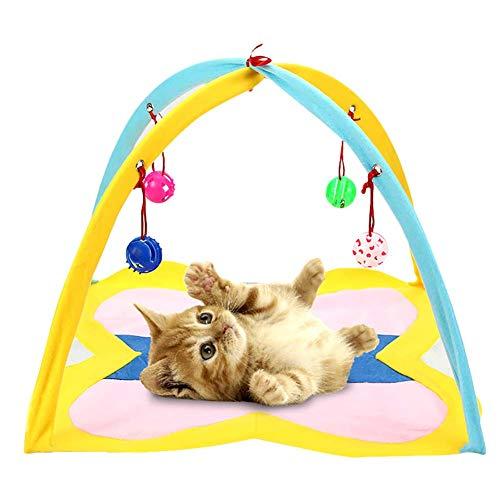 Hamaca para gatos DealMux con campanas Cama colgante plegable con campanas Juguete interactivo de actividades para gatos Mini tienda plegable para perros y gatos