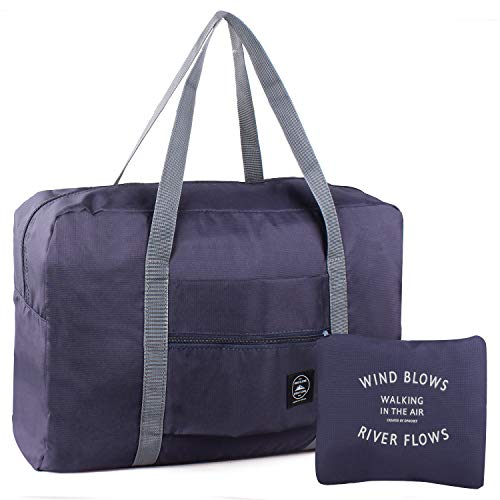 Foldable Duffles Bag for Women & Men, Waterproof Lightweight Travel Bag for Sport, Gym, Vacation (Style 1-Navy Blue)