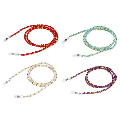 Artibetter 4 Piezas Cadenas de Anteojos con Cuentas Titular de Gafas Gafas Collar Vintage Gafas de Sol Cadenas Gafas Correas Retenedoras (Rojo Púrpura Blanco Azul Cielo)