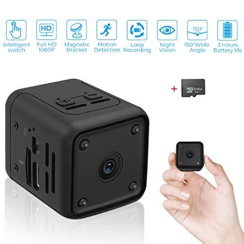 Mini Kamera,1080P HD Kleine Überwachungskamera Lange Batterielaufzeit Videoanrufkamera Nanny Sicherheitskamera für Innen Aussen mit Bewegungserfassung und Infrarot Nachtsicht