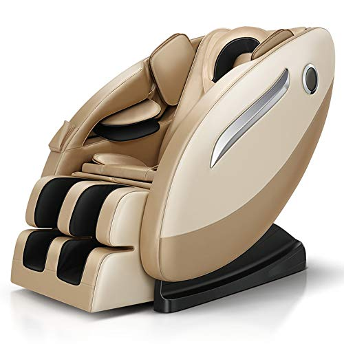 NCBH Sillón de Masaje 3D Sillón de Masaje de Gravedad Cero Airbag Completamente Envuelto con Cabeza y Cordones elásticos tailandeses Adecuado para el hogar y la Oficina,Oro