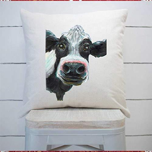 43LenaJon Funda de almohada de vaca 1 funda de cojín cuadrada para casa, coche, sofá, dormitorio, decoración de 50 x 50 cm, regalo de inauguración de la casa