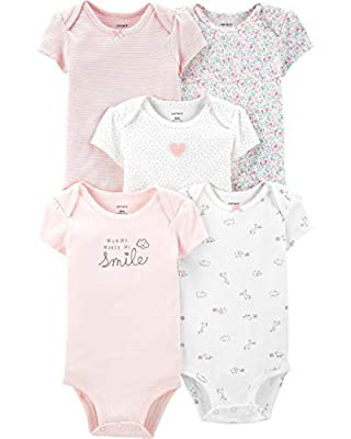 Carter's Baby Girls' 5 Pack Bodysuits (Pink/Ivory/Floral, 24 Months)