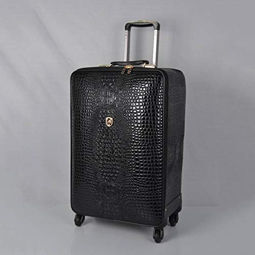 N-B Full Leather Suitcase Leather Casual Crocodile Pattern Suitcase Universal Wheel 16/20 Inch Boarding Travel Suitcase