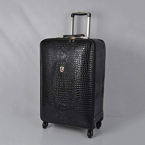 N-B Maleta de cuero de cuero casual cocodrilo patrón maleta universal de la rueda 16/20 pulgadas embarque maleta de viaje