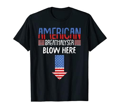 Alkoholtester 4. Juli, lustige amerikanische Flagge, patriotisch T-Shirt