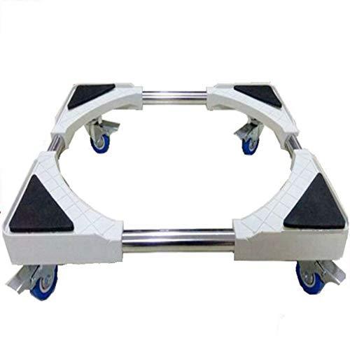 Yxsd tvättmaskin bas rostfritt stål konsol hylla justerbar rörlig bas med 4 låsande gummihjul