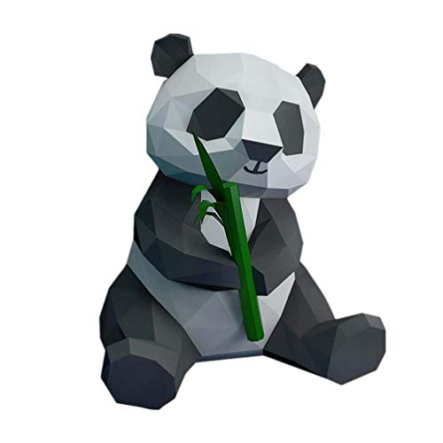 NUOBESTY Panda Figuritas 3D Animal Salvaje Escultura Papel Panda Bambú Bricolaje Decoración Moldeada a Mano Origami Papel Modelo Juguete Foto Accesorios (Papel de Tarjeta)