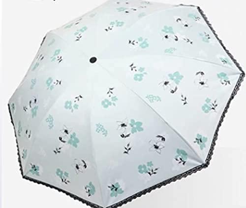 Pkfinrd Ombrelli di protezione solare in vinile pieghevole bordo pizzo per pioggia e doppio uso femminile protettivo portatile viaggio pieghevole uv semplice operazione