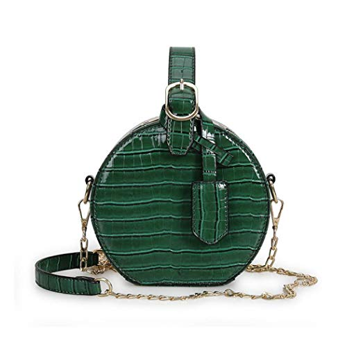 Canteen Purse Round Crossbody Bag for Women Leather Circle Purse Clutch with Handstrap (Green)