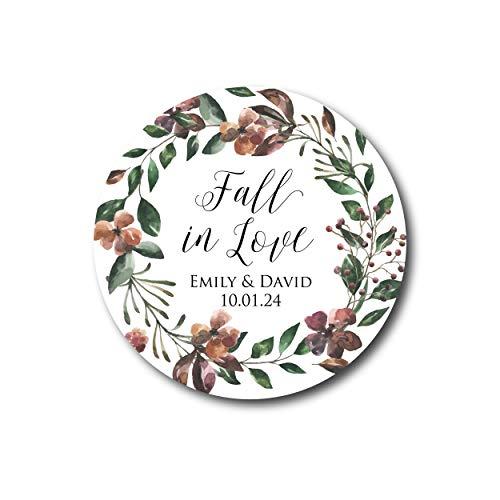 DKISEE 3 pegatinas de otoño en el amor de otoño de boda favores otoño boda favores boda rústica favores boda favores rústico boda favores Marsala 10 cm