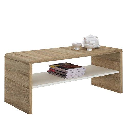 IDIMEX Table Basse Noelle, Table de Salon rectangulaire ou Meuble TV de 120 cm avec 1 étagère Espace de Rangement Ouvert, en mélaminé décor chêne Sonoma et Blanc Mat