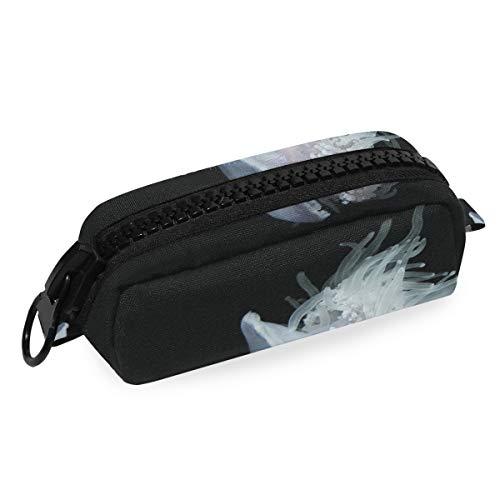 DEZIRO Make-up-Tasche, Reisetasche, weiße Nessel, Quallen, für Damen und Mädchen, Make-up-Pinsel-Tasche