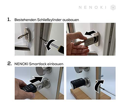 NENOKI Smartlock - elektronischer Schließzylinder mit PIN-Code, RFID- & APP-Steuerung (elektronisches Türschloss), 40/30mm (aussen/innen) - 7