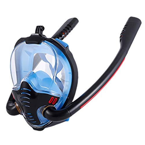 Nicejoy Snorkel Careta, La Cara Llena De Doble Tubo De Buceo Silicón De La Cara Cubierta Anti-vaho Y Anti-Fugas Tamaño Negro Azul S M