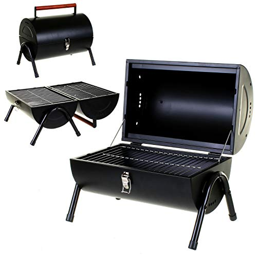 Portable Barrel Stainless Steel BBQ with 2 Independent Cooking Areas Features Side Vents and Wooden Carry Handle - Great for Beach, Garden, Party or Camping (Black)