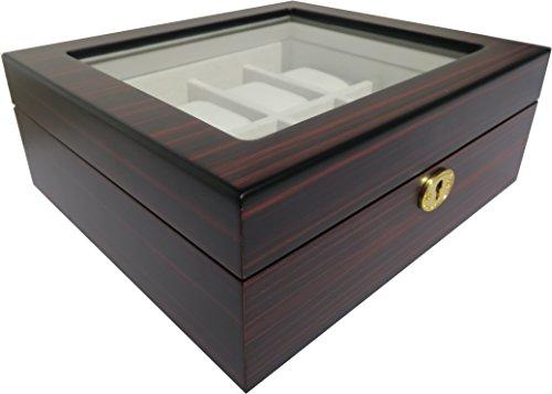 Uhrenbox von Woolux für 8 Uhren Holz verschließbar Sichtfenster Uhrenschatulle