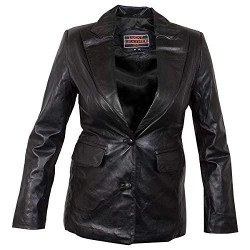 Ladies Lucky Leather 7755 Cowhide Leather Coat with 2 Button Closure - Medium