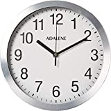 Adalene Modern Metal Wall Clock Silent - 10 Inch Analog Wall Clocks Battery Operated Non Ticking - White Face Aluminum...