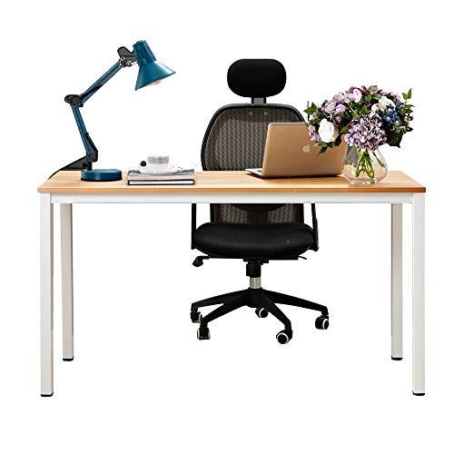 Need Escritorios Mesa de Ordenador 138x55cm Escritorio de Oficina Mesa de Estudio Puesto de Trabajo Mesa de Conferencias Talla Grande, Teca Color & Blanco Pata AC3BW-140-N