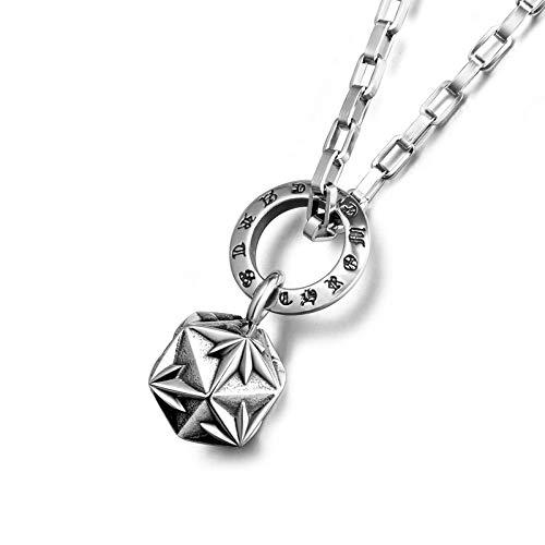 Alushisland Pullover Kette Titan Stahl Schmuck Halskette Anhänger 3D Pozi Blume Polygonale Stern Halskette