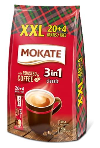 MOKATE XXL Classis 3-in-1 Sticks, löslicher Bohnenkaffee, mit Creamer & Zucker & Kokosöl, Instant-Kaffee aus gerösteter Kaffeebohnen, koffeinhaltig 408g (24 x 17g)