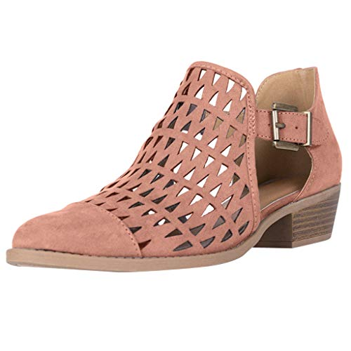 Celucke Ankle-Boots Damen Stiefeletten mit Cutouts, Spitze Stiefel Frauen Kurzstiefel Elegante Schuhe Mode Bequem Damenschuhe (Pink, 40)