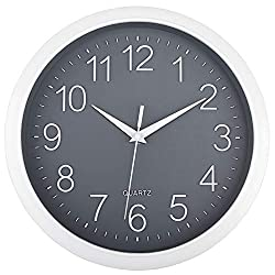 Foxtop Silent Wall Clock Battery Operated Non-Ticking Round Quartz Wall Clock Modern Easy to Read Clocks for Bedrooms Living Room Home Office School Classroom (Gray, 11 inch)