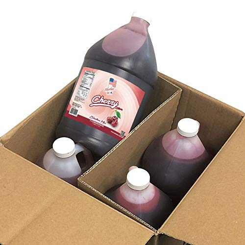 Cherry Slushee Mix - Case of 4 x 1 Gallons | 512 oz (Yields Approx. 385-12oz servings per case) | Mixing Ratio 7 (Water) to 1 (Product Mix)