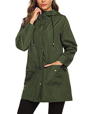 SUNAELIA Rain Jacket Women Waterproof Lightweight Hooded Raincoat Active Outdoor Windbreaker Trench Coat S-XXL (XX-Large, Army Green)