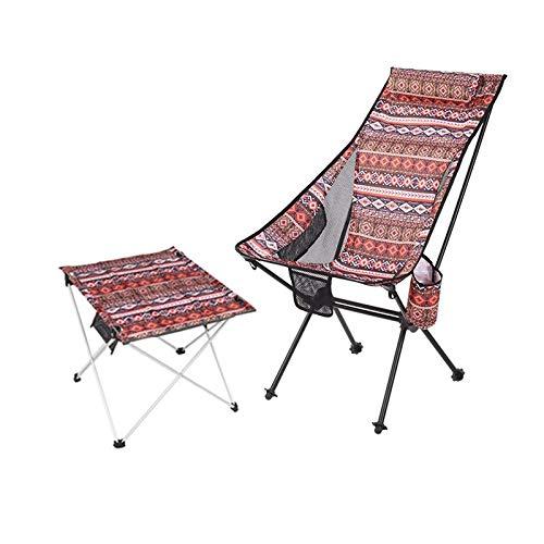 [Mesas y sillas plegables] Mesa de tela portátil al aire libre y silla Set de muebles de camping, playa, balcón, mesa plegable y silla (D)
