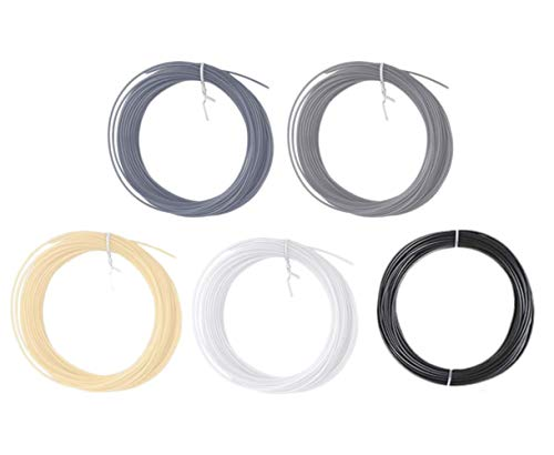 AKOAK Environmental Protection Material 3D Pen/3D Printer Filament,1.75mm Low Temperature PCL Filament Refills,Pack of 5(Black,White,Silver,Grey,Nude),16.4 Feet Each Color