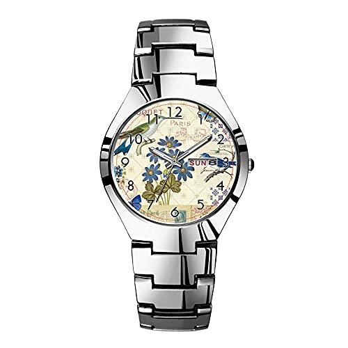Reloj de pulsera para hombre con correa de acero plateado, resistente al agua, Japón, cuarzo de Navidad, reloj de negocios, un ramo de flores azules, pájaros y mariposas