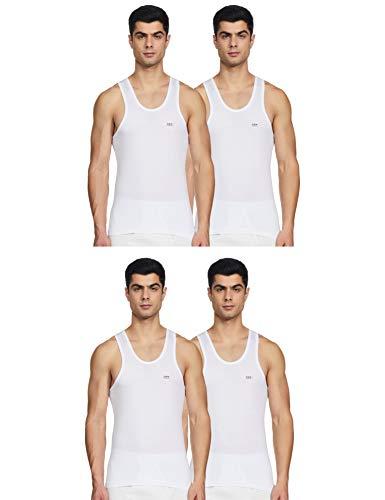 LUX VENUS Men's Cotton Vest (Pack of 4) (8904209873958_Venus_WH_RN_90_White)