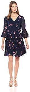 Eliza J womens Floral Print Dress with Tiered Skirt Casual Dress