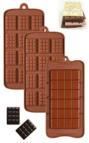 Value Pack Silicone Chocolate Break Apart and Chocolate Chip Molds Non-Stick Candy Protein and Energy Bar Mold Baking Tray Set of 3
