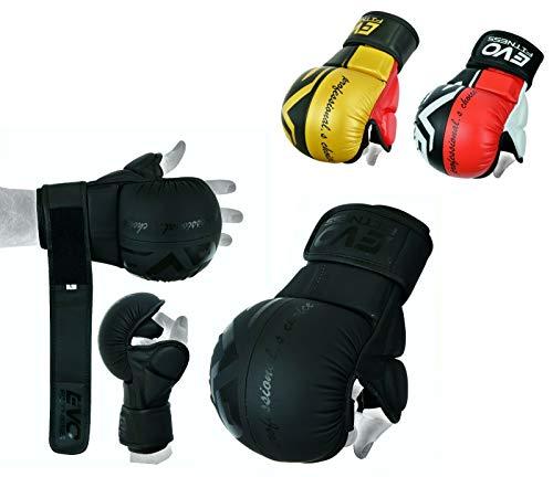 EVO Maya Rindsleder MMA Ringen Handschuhe UFC Käfigkampf Sparring Handschuhe Training - Schwarz & Rot, Medium