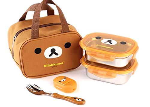 Stainless Steel Lunch Box with Bag Spork for Toddler Kids Set 2- Lunch Boxes Bag SpoonFork Bento Rilakkuma