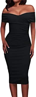 Womens Sexy Ruched Off Shoulder Bodycon Clubwear Stage Midi Dress