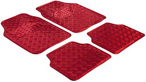 Walser Gummimatten, Universal Automatte Metallic, Fußmatten Komplettset Riffelblech, Schutzmatte rot, zuschneidbare Schmutzfangmatte 28021