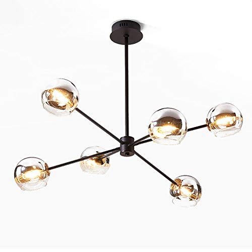 ZCWYP Sputnik Lámpara De Araña 6 Luces Magia Frijol Molecular Luz Colgante Mundo Lámpara Colgante para La Sala De Estar,Restaurante,Cocina,Isla E26 Base Luminaria Lámpara-Negro 6 Luces