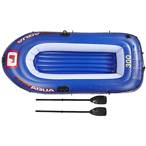 Clas Ohlson Inflatable 2 Person Boat with Oars - 218x110x36cm, Max Weight Capacity 190 KG, Proaqua...