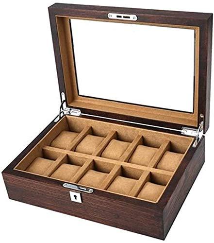 Boîte à montres, 10 emplacements Boîte de rangement pour montres Bois d'orme Boîte à montres en verre en bois massif pur, Boîte de présentation Boîte de présentation haut de gamme avec serrure