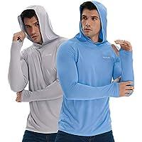 2-Pack TELALEO Men's Long Sleeve UPF 50+ Sun Protection Shirt Hoodie
