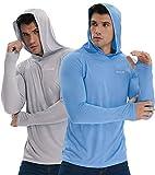 Men's Long Sleeve UPF 50+ Sun Protection Shirt Hoodie Dri Fit SPF UV Shield Fishing Hiking 2 Pack Light Gray Blue XL