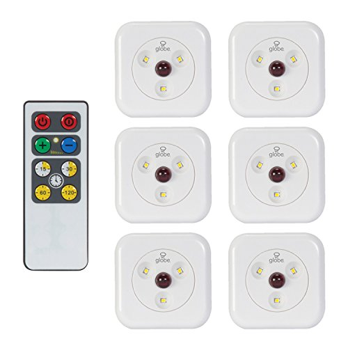 LED Under Cabinet Slim Puck Light 6-Pack, Universal Remote Control Included, Dimmable, Push Button On/Off Switch, White Finish, 18 Batteries Included, 3000K Soft White,26044