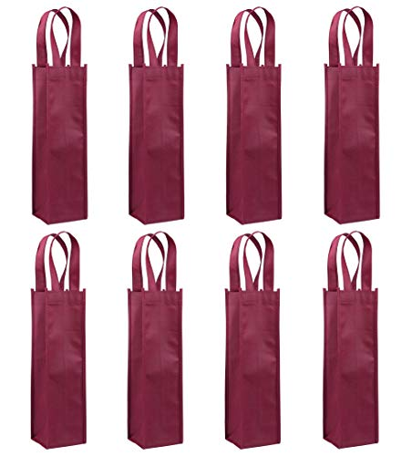 Single Wine Tote Bag, Sdootjewelry 24 Pack Non-Woven Wine Gift Bags Reusable Single Bottle Wine Bag with Handles - Dark Red