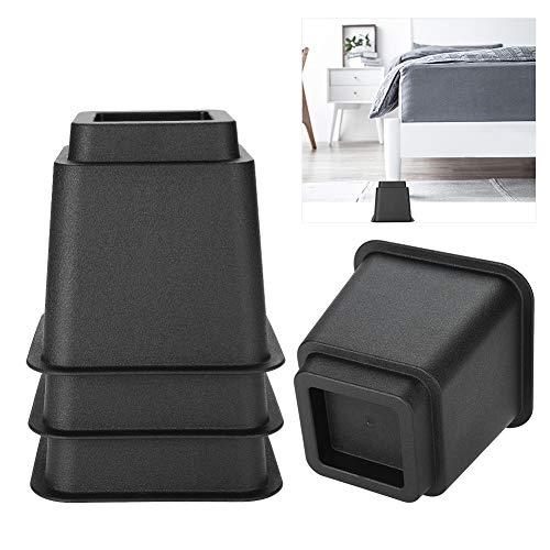 Möbelerhöhung, verstellbar, für Bett, Stuhl, breite Füße, 12,7 cm, Schwarz, 4 Stück