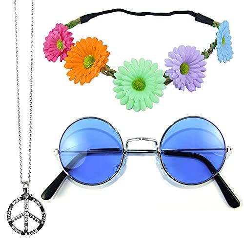 Das Kostümland Hippie Set 3-tlg. - Margeriten Haarband, Peace Kette und Lennon Brille - Bunt mit blauer Brille