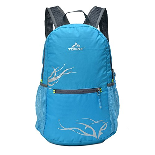 TOFINE Packable Backpack Waterproof Hiking Daypack for Womens Light Blue 15L
